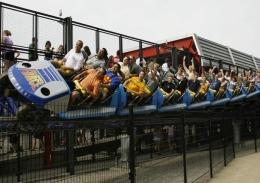 The Millennium Force roller coaster at Cedar Point in Sandusky, Ohio.