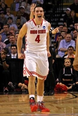 Ohio State guard Aaron Craft (4), then a sophomore, lets out a celebratory yell in the 2nd half of a Sweet 16 NCAA Basketball Championship game held at TD Garden in Boston on March 23, 2012. OSU won 81-66.