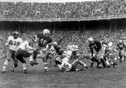 Heisman Trophy–winner Howard 'Hopalong' Cassady (No. 40) played for OSU from 1952–55 and is one of the gridiron greats featured in 'Rare Football Films: The Newsreels' on Aug. 23. Credit: Courtesy of Wexner Center for the Arts