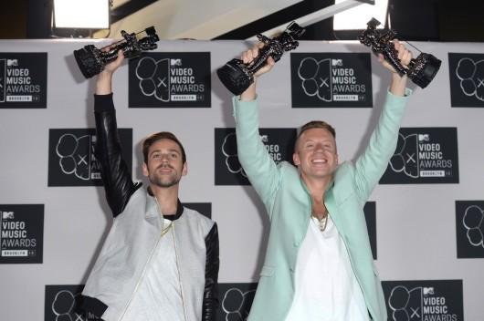 "Macklemore & Ryan Lewis won Best Hip-Hop Video for ""Can't Hold Us"" and Best Video with a Social Message for ""Same Love"" at the 2013 MTV VMAs, which aired Aug. 25. Credit: Courtesy of MCT"