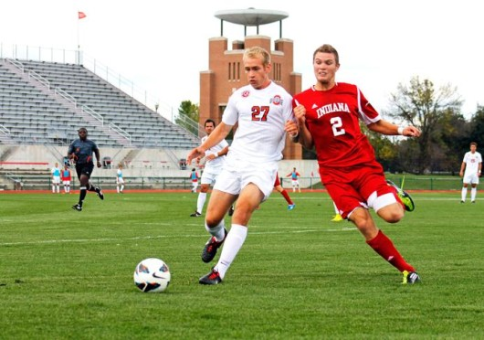 Then-sophomore defender Zach Dobey battles for space during a game against Indiana Sept. 23, 2012 at Jesse Owens Memorial Stadium. OSU lost, 2-0.