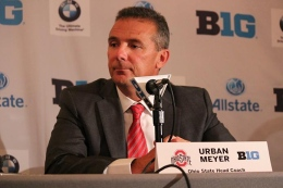 Urban Meyer addresses media at the Hilton Chicago during Big Ten Football Media Days.