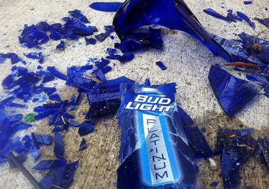 A shattered Bud Light Platinum, found on 14th and Indianola avenues, moments before popping a professor's tire. Credit: Cory Frame / Lantern reporter
