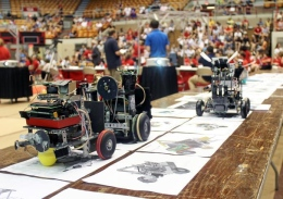 Robots built by 1st-year engineering students sit on display at the 2012 Robot Competition hosted by the OSU College of Engineering at St. John Arena May 24.