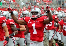 OSU redshirt junior cornerback Bradley Roby pumps up the crowd before a game against Miami (OH) on Sept. 1 at Ohio Stadium. OSU won, 56-10.