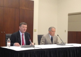 Jeffrey Wadsworth (left), chair of the OSU Presidential Search Committee, and Board of Trustees Chairman Robert Schottenstein speak about the search for a new university president at a July 19 press conference.