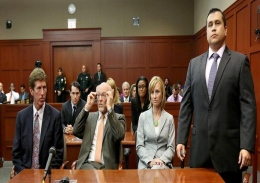 George Zimmerman stands when the jury arrives to deliver the verdict Saturday at his trial in Sanford, Fla. Zimmerman was found not gulity of second-degree murder in the fatal shooting of 17-year-old Trayvon Martin in 2012.
