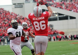 Lantern file photo Then-sophomore Jeff Heuerman catches the winning touchdown against Purdue on Oct. 20, 2012 at Ohio Stadium. OSU won, 29-22.
