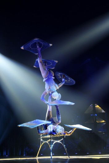 During the foot juggling act, two performers balance on top of each other while also spinning objects on their hands and feet Aug. 22 at the Ohio Expo Center. Cirque du Soleil is in Columbus through Sept. 15. Credit: Shelby Lum / Photo editor