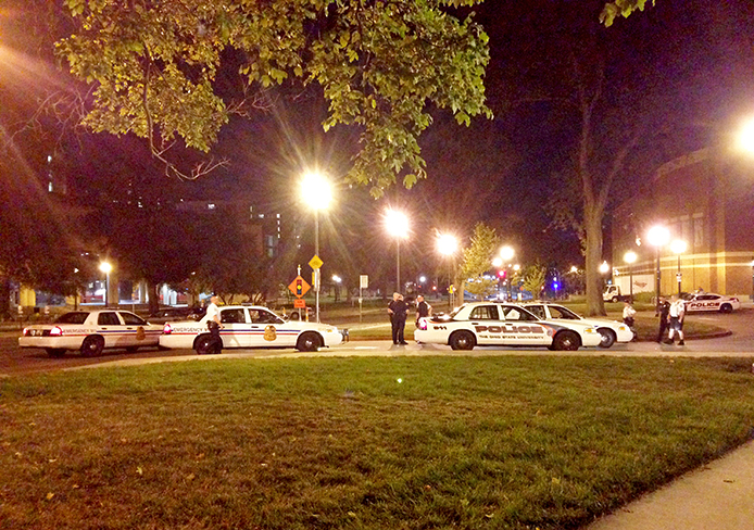 Columbus Police cruisers stationed at the Ohio Union on Saturday morning. Credit: Cameron Roda / Lantern reporter