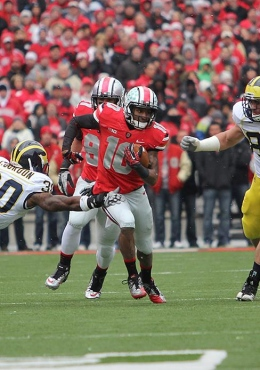 Cody Cousino / For The Lantern Then-junior Corey Brown avoids the defense during a game against Michigan on Nov. 24, 2012 at Ohio Stadium. OSU won, 26-21.