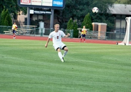 Shelby Lum / Photo editor Freshman Craig Zahour plays the ball up the field during a match against IPFW on Aug. 20, at Jesse Owen's Memorial Stadium. OSU won, 2-0.