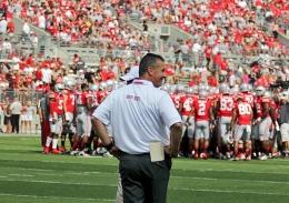 Shelby Lum / Photo editor Buckeye football coach Urban Meyer looks on during a game against Buffalo Aug. 31, at Ohio Stadium. OSU won, 40-20.
