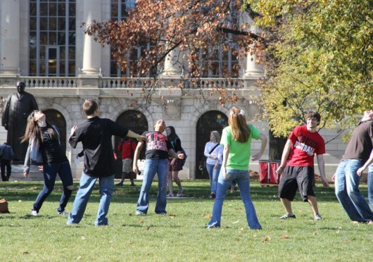 About 20 students take part in doing the 'Bernie' on the Oval Nov. 8, 2011, to benefit the Mid-Ohio Food Bank. Credit: Brittany Schock / Asst. photo editor