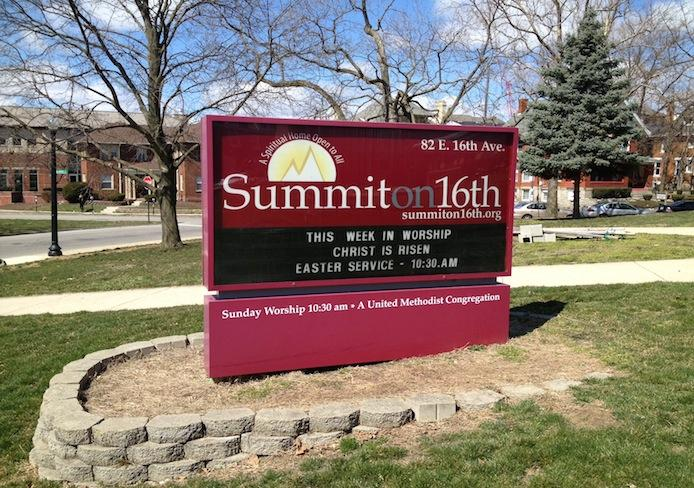 The sign outside of Summit on 16th, located at 82 E. 16th Ave. Credit: Logan Hickman / For The Lantern