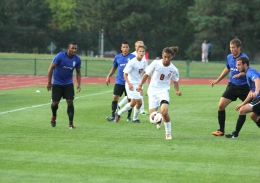 Shelby Lum / Photo editor Junior midfielder Yianni Sarris plays the ball forward during a game against IPFW Aug. 20, at Jesse Owens Memorial Stadium. OSU won, 2-0.