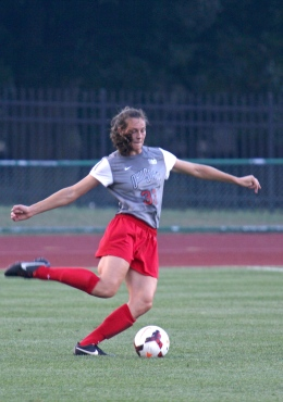 Shelby Lum / Photo editor Redshirt-freshman forward Morgan Wolcott (33) plays the ball forward during a game against Pittsburgh Aug. 28, at Jesse Owens Memorial Stadium. OSU won, 2-0.