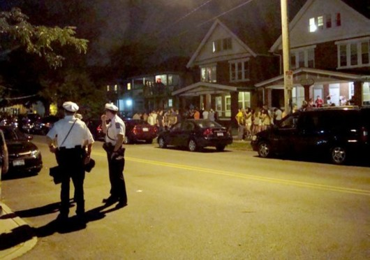 A block party called 'ratCHITT' was held Aug. 24 on Chittenden Avenue. There were about five arrests and pepper spray may have been used in one instance, according to a CPD sergeant. Credit: Ritika Shah / Asst. photo editor
