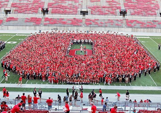 Buckeye Kick-Off was held Aug. 24 at Ohio Stadium and featured multiple speakers and an OSU marching band performance. Credit: Shelby Lum / Photo editor