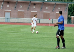 Shelby Lum / Photo editor Junior midfielder Yianni Sarris looks for an open teammate during a match against IPFW on Aug. 20, at Jesse Owen's Memorial Stadium. OSU won, 2-0.