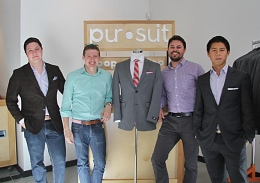 (Left to right) Roger Juang, a 2nd-year in logistics and operations management, Jordan Wright, a 3rd-year in strategic communication, Jake Mendel, a 2nd-year in finance, and OSU alumnus Nate DeMars, founder and CEO. Credit: Theresa Brady / Lantern photographer