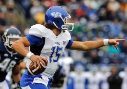 Courtesy of MCT Buffalo Bulls quarterback Alex Zordich (15) directs his offensive line where to block against Connecticut at Rentschler Field in East Hartford, Connecticut, Saturday, September 29, 2012. UConn defeated Buffalo, 24-17.