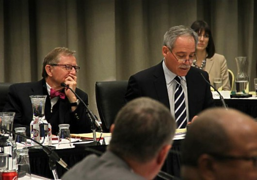 Former OSU President E. Gordon Gee (left) and Board of Trustees Chairman Robert Schottenstein at the Board of Trustees meeting Feb. 1. Credit: Lantern file photo