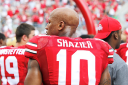 Ritika Shah / Asst. photo editor Junior linebacker Ryan Shazier looks on during Ohio State's 40-20 win over Buffalo Aug. 31.