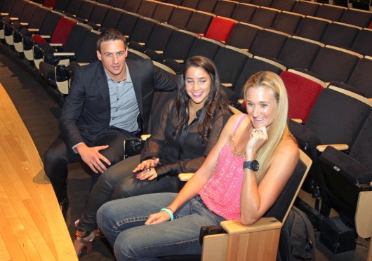 Ryan Lochte, Aly Raisman, and Kerri Walsh Jennings answer questions before their OUAB appearance 'Winning Gold' Sept. 5. Credit: Shelby Lum / Photo editor