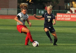 Shelby Lum / Photo editor Senior defender Megan Fuller controls the ball during a game against Pittsburgh on Aug. 28, at Jesse Owens Memorial Stadium. OSU won, 2-0.