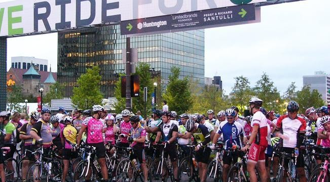 Pelotonia riders stand with their bikes at the starting in anticipation of the ride ahead of them. More than 6,000 riders were registered for the Aug. 11 event. Credit: Kristen Mitchell / campus editor