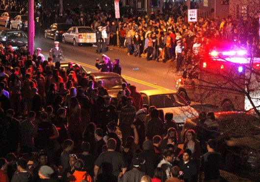 Students and police officers fill the streets on Chittenden Ave. during the block party 'Chitt Show' April 6. Credit: Lantern file photo
