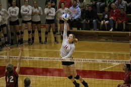 Daniel Chi / For The Lantern Then-senior Mari Hole attempts to score during a match against Nebraska on Sept. 22, 2012, at St. John Arena. OSU lost, 3-1.