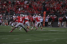 Lantern file photo Then-sophomore Braxton Miller tosses the ball during a game against Nebraska on Oct. 6, 2012, at Ohio Stadium. OSU won, 63-38.