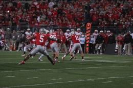 Lantern file photo Then-sophomore Braxton Miller tosses the ball during a game against Nebraska on Oct. 6, 2012, at Ohio Stadium. OSU won, 63-38.