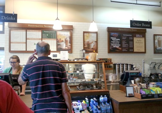 A customer waits in line at Peet's Coffee & Tea, located at 3645 N. High St. Credit: Kim Dailey / Lantern reporter