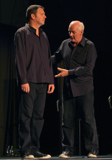 Improv comedians Brad Sherwood (left), and Colin Mochrie perform for OSU students Sept. 16 in the Archie M. Griffin Grand Ballroom.Credit: Shelby Lum / Photo editor