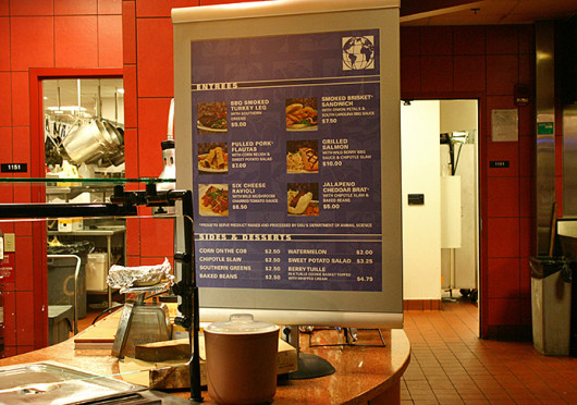 Prices are displayed on a menu at Union Market. The prices of some food options increased Fall Semester.  Credit: Shahed Al-Asadi