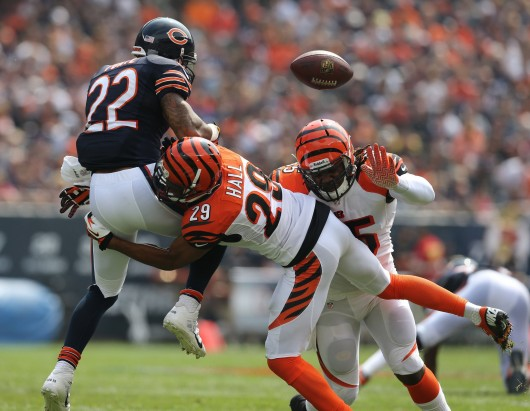 Cincinnati Bengals cornerback Leon Hall (29) breaks up a pass intended for Chicago Bears running back Matt Forte (22) in the first quarter at Soldier Field in Chicago, Illinois, on Sunday, September 8, 2013. Credit: Courtesy of MCT