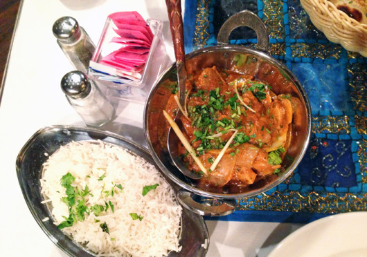 You can get Murgh Kadhai with basmati rice at Mughal Darbar, located at 2321 N. High St. for $13. Credit: Nen Lin Soo / Lantern reporter