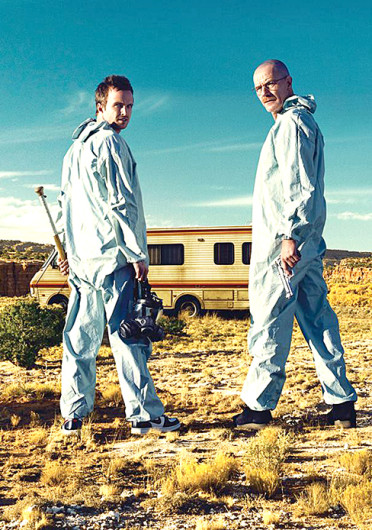 Aaron Paul (left) and Bryan Cranston in a scene from 'Breaking Bad.' The shows finale is scheduled to air Sept. 29 at 9 p.m. Credit: Courtesy of Facebook