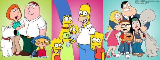 'Family Guy,' 'The Simpsons' and 'American Dad!' premiered Sunday night on Fox.   Credit: Kayla Byler / Managing editor of design Photos courtesy of MCT
