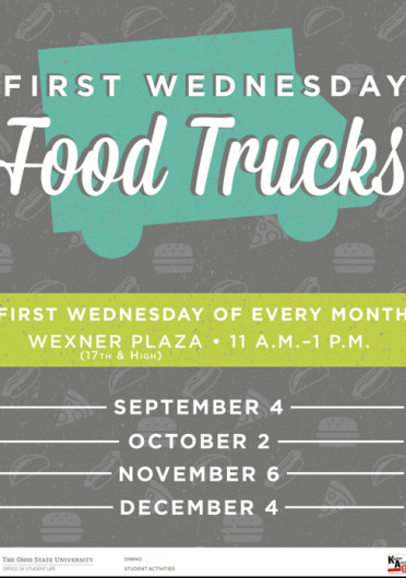 First Wednesday Food Trucks is an event that gathers local food trucks at the Wexner Center Plaza every first Wednesday of the month.  Credit:  Courtesy of OSU Office of Student Life