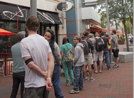 Students wait in line to view the 'Breaking Bad' finale at the Gateway Film Center Sept. 29.  Credit: Ritika Shah / Asst. photo editor