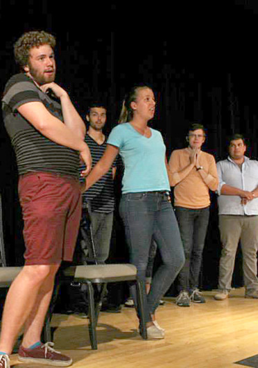 Members of OSU's Fishbowl Improv group perform during their Welcome Week Show Aug. 19. Fishbowl Improv is set to participate in Improv Wars, a competition between improv groups, starting Oct. 1.  Credit: Courtesy of Facebook