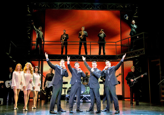 Jason Kappus (left), Nick Cosgrove, Nicolas Dromard, Brandon Andrus fom 'Jersey Boys,' which is showing at the Ohio Theatre through Sept. 29. Credit: Courtesy of Jeremy Daniel