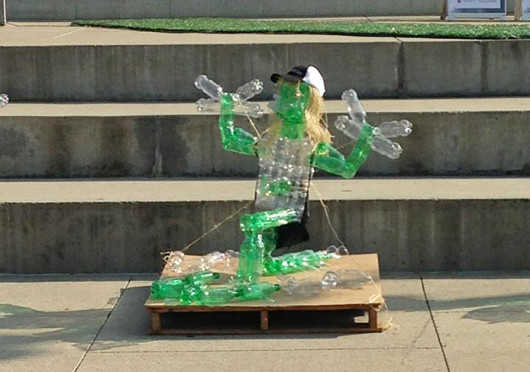 The Sports and Wellness Scholars' winning sculpture at the Art of Recycling competition Wednesday. Credit: Courtesy of Kalika Litwin