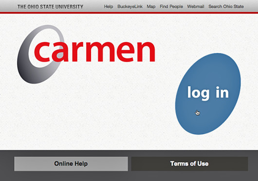 """Nahhh,"" said Tanner, as his cursor hovered over the 'Log In' button. ""No computer tells me what to do."" Credit: Screenshot of carmen.osu.edu"