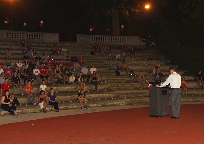Jeffrey Lewis, a professor in international studies, speaks at the 9/11 Day of  Remembrance at Browning Amphitheater Sept. 11. Credit: Eric Seger / Sports editor