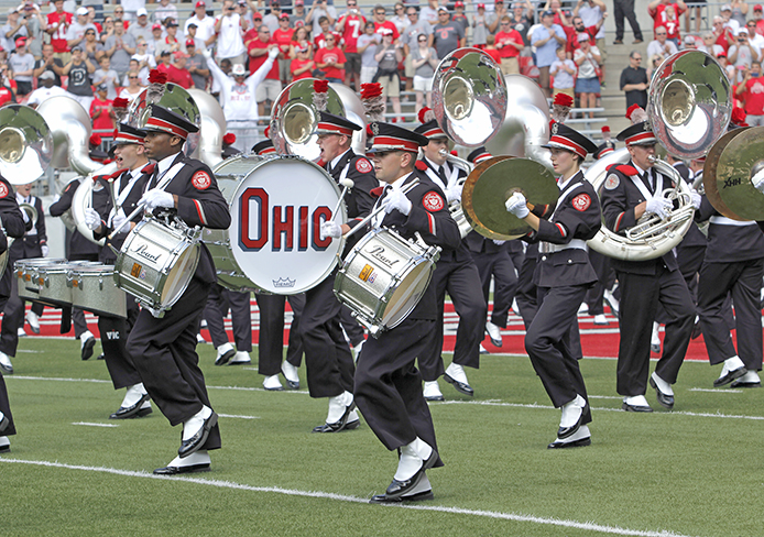 The OSU Marching Band plays at halftime of the OSU vs. Buffalo Aug. 31. OSU won, 40-20. This year marks the 40th anniversary of women first joining the band. Credit: Ritika Shah / Asst. photo editor